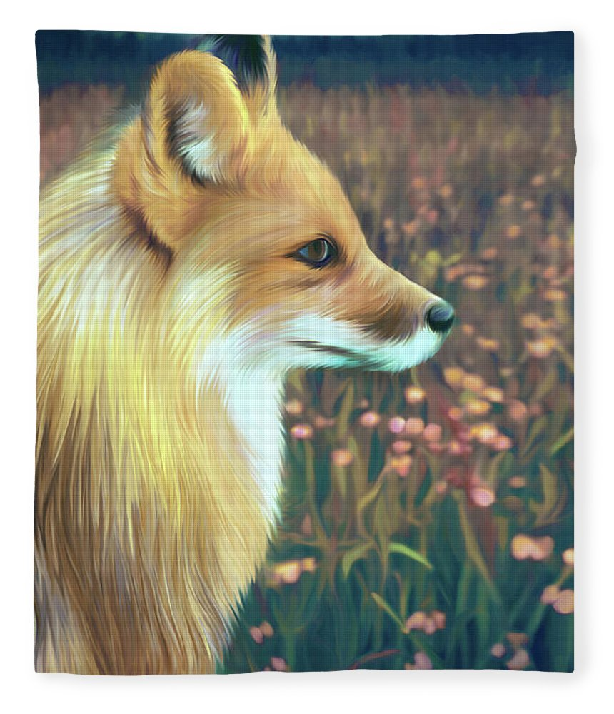 Grass Fleece Blanket featuring the digital art Illustration Of Red Fox by Illustration By Shannon Posedenti