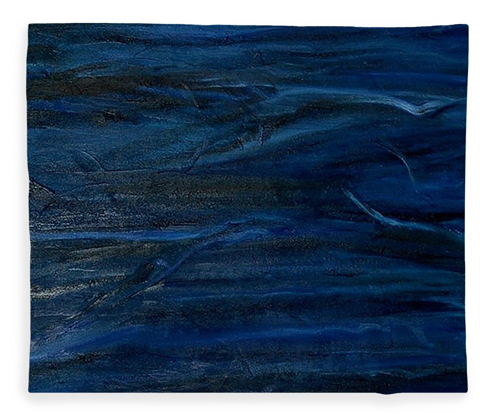 Abstract Fleece Blanket featuring the painting Immense Blue by Silvana Abel