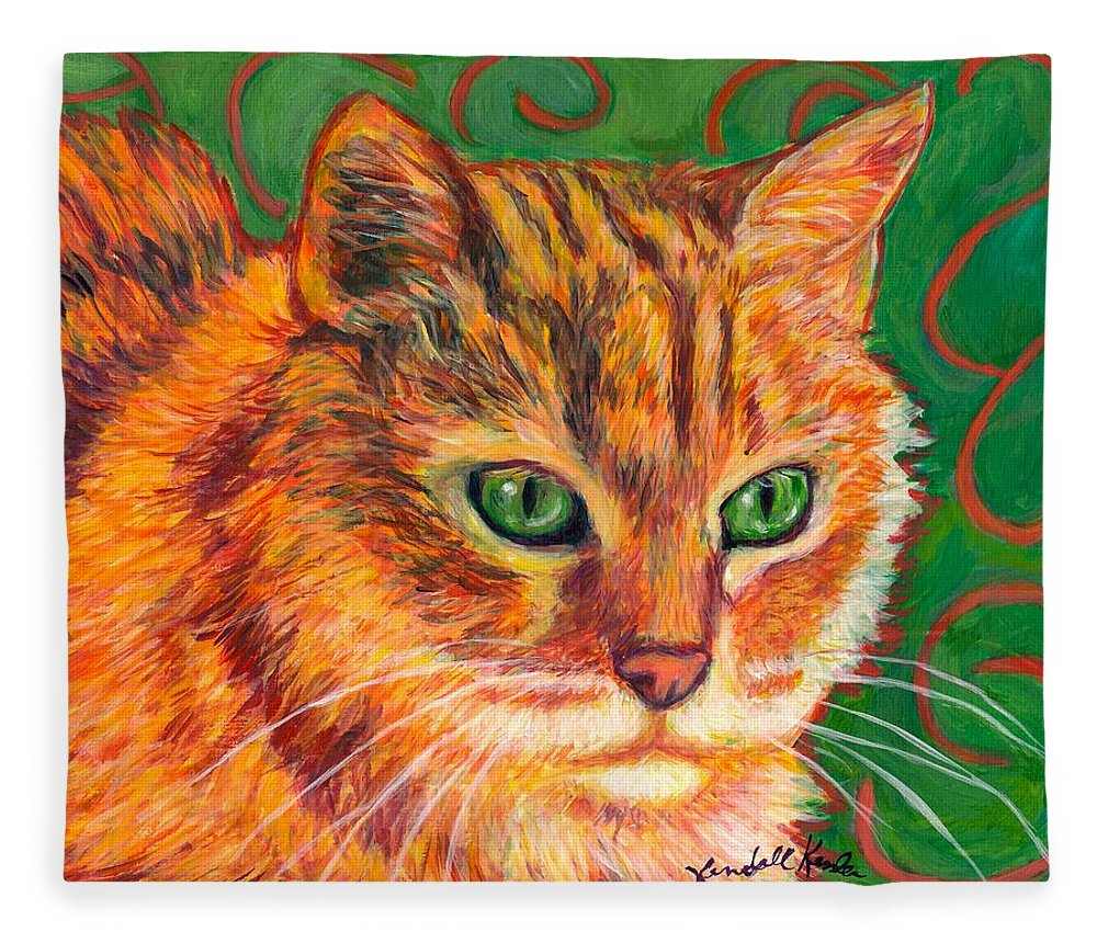 Cats Fleece Blanket featuring the painting In Charge by Kendall Kessler
