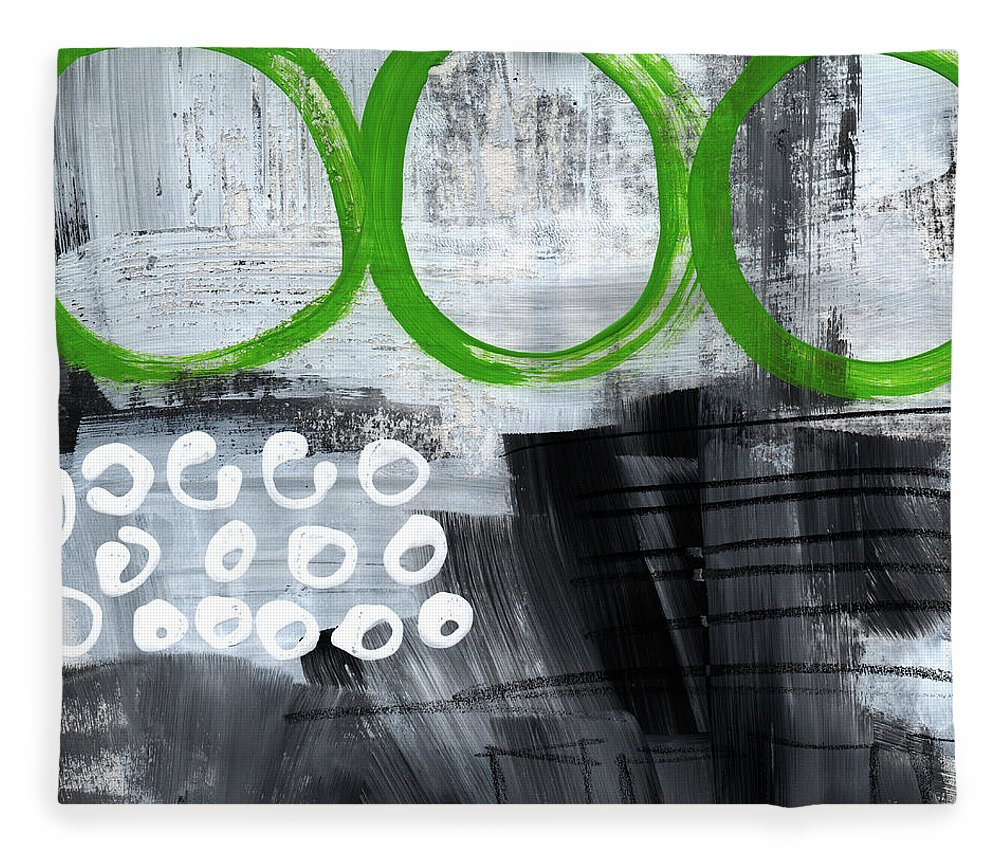 Abstract Fleece Blanket featuring the painting In Circles- abstract painting by Linda Woods