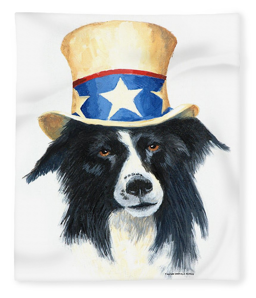Dog Fleece Blanket featuring the painting In Dog We Trust by Jerry McElroy
