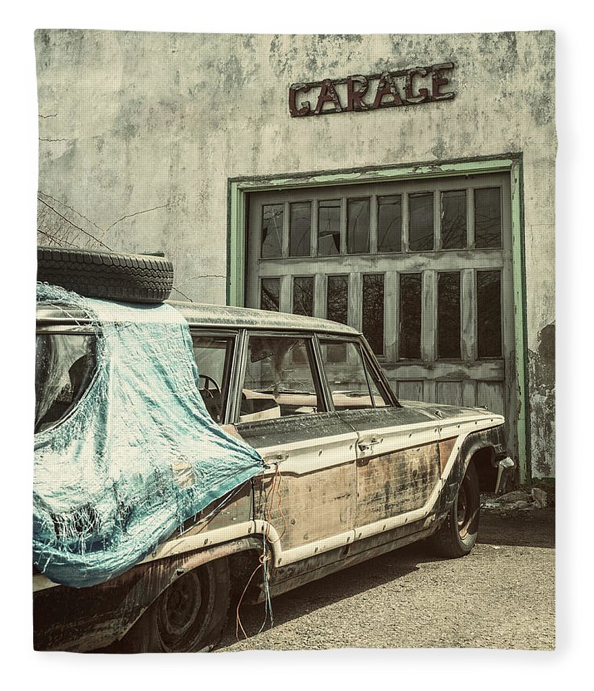 Land Vehicle Fleece Blanket featuring the photograph In For Repairs by Shaunl