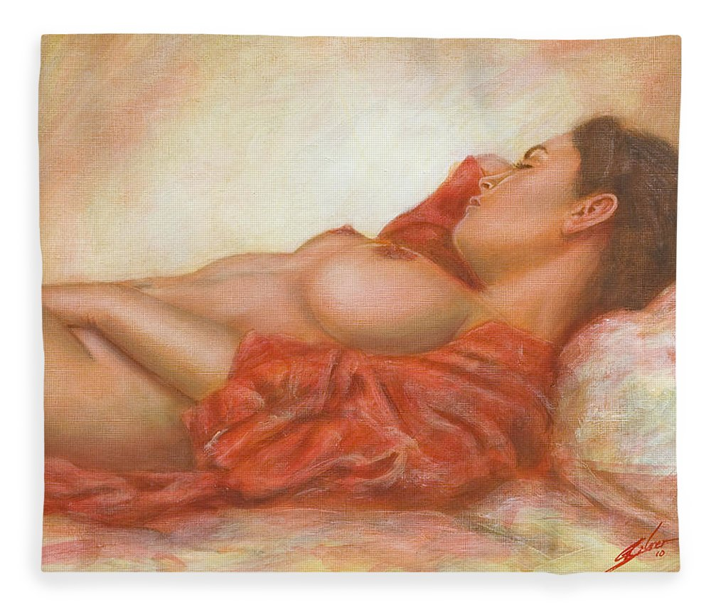 Erotic Fleece Blanket featuring the painting In Her Own World by John Silver
