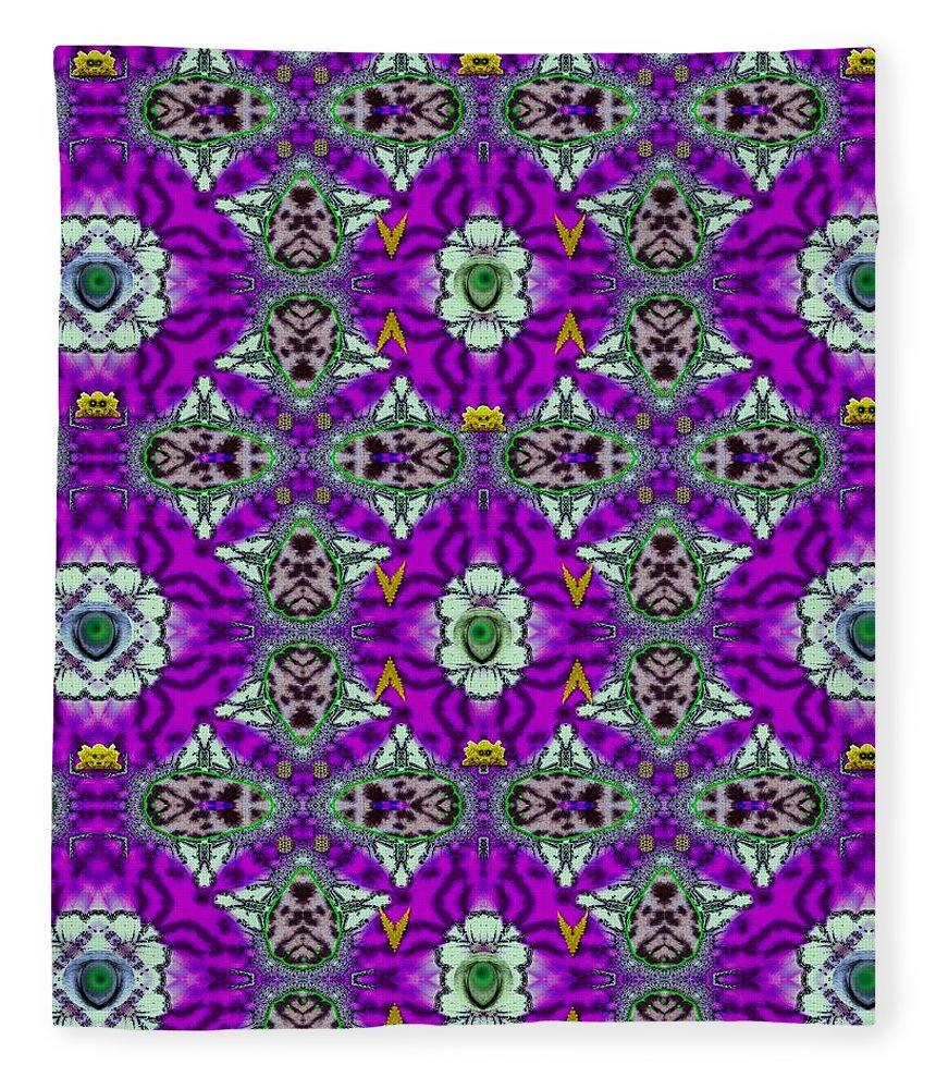 Panda Fleece Blanket featuring the mixed media In The Footsteps Of The Tiger by Pepita Selles