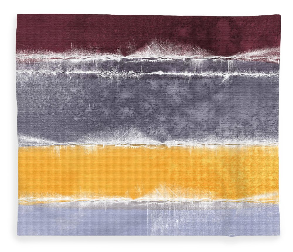 Abstract Fleece Blanket featuring the painting Indian Summer by Linda Woods