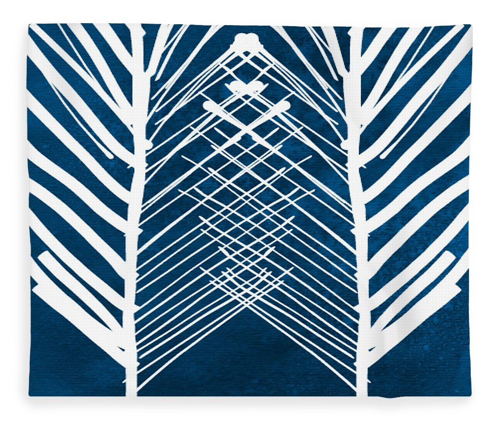 Leaves Fleece Blanket featuring the painting Indigo And White Leaves- Abstract Art by Linda Woods