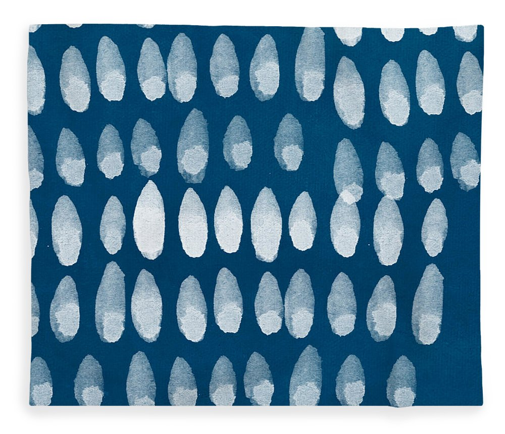 Blue And White Fleece Blanket featuring the painting Indigo And White Watercolor by Linda Woods