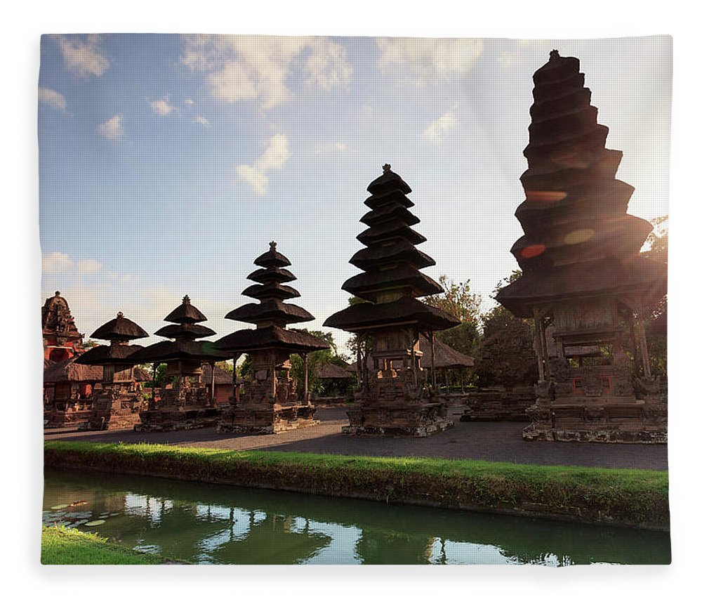 Shadow Fleece Blanket featuring the photograph Indonesia, Bali, Taman Ayun Temple by Michele Falzone
