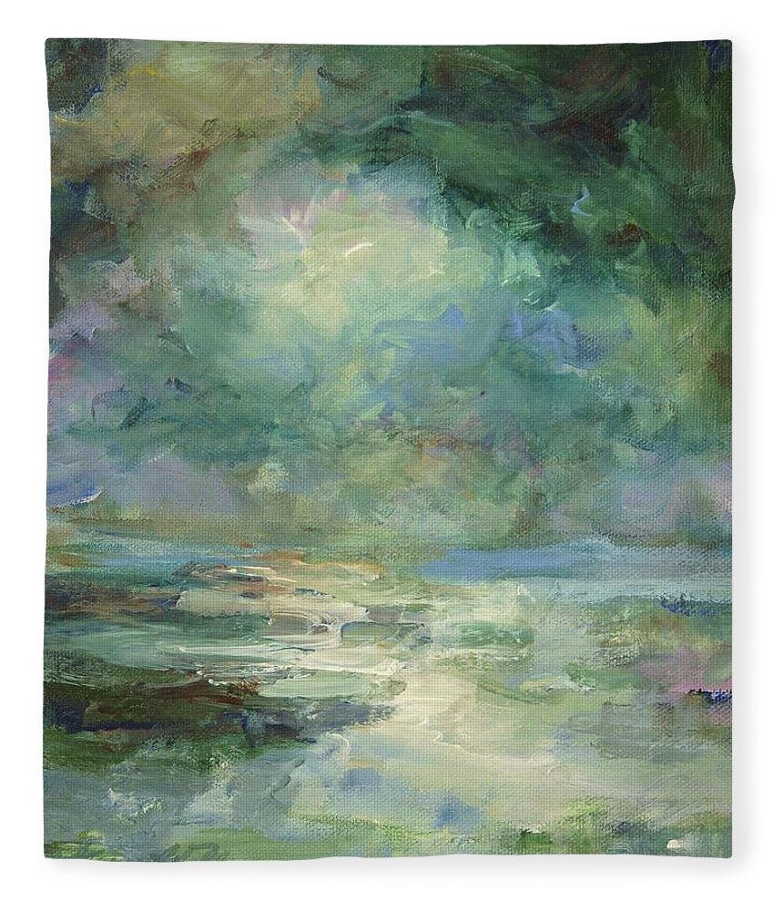 Impressionism Fleece Blanket featuring the painting Into The Light by Mary Wolf