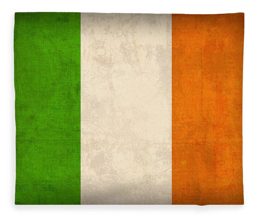 Ireland Flag Vintage Distressed Finish Dublin Irish Green Europe Luck Fleece Blanket featuring the mixed media Ireland Flag Vintage Distressed Finish by Design Turnpike