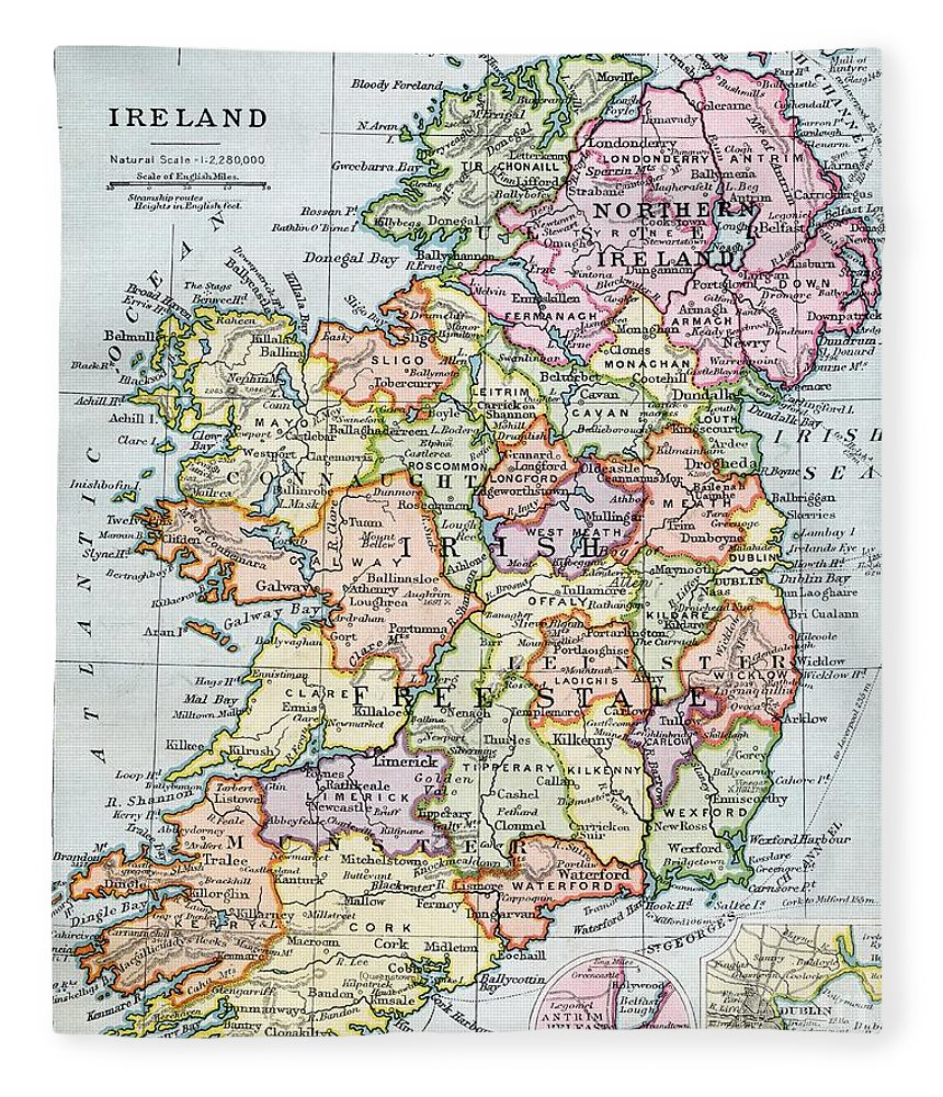 Irish Free State And Northern Ireland From Bacon S Excelsior Atlas
