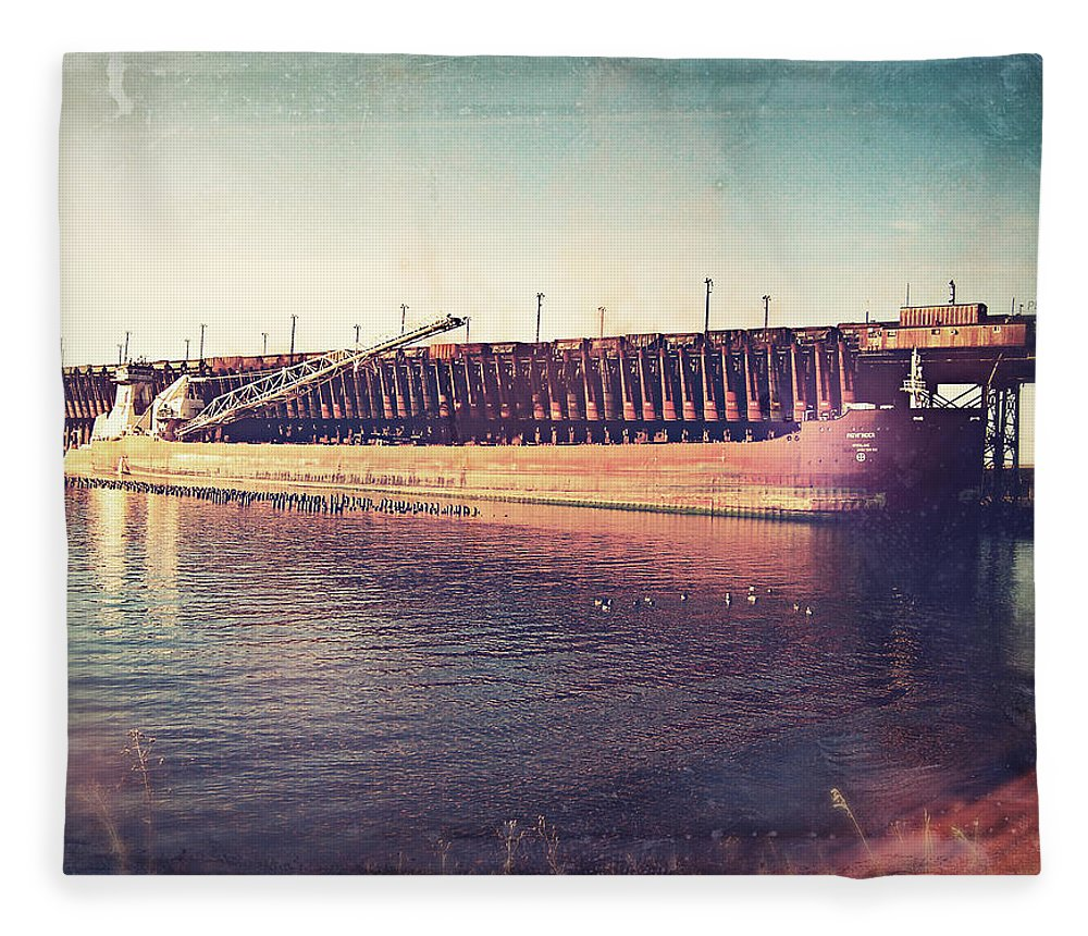Iron Ore Freighter Fleece Blanket featuring the digital art Iron Ore Freighter In Dock by Phil Perkins