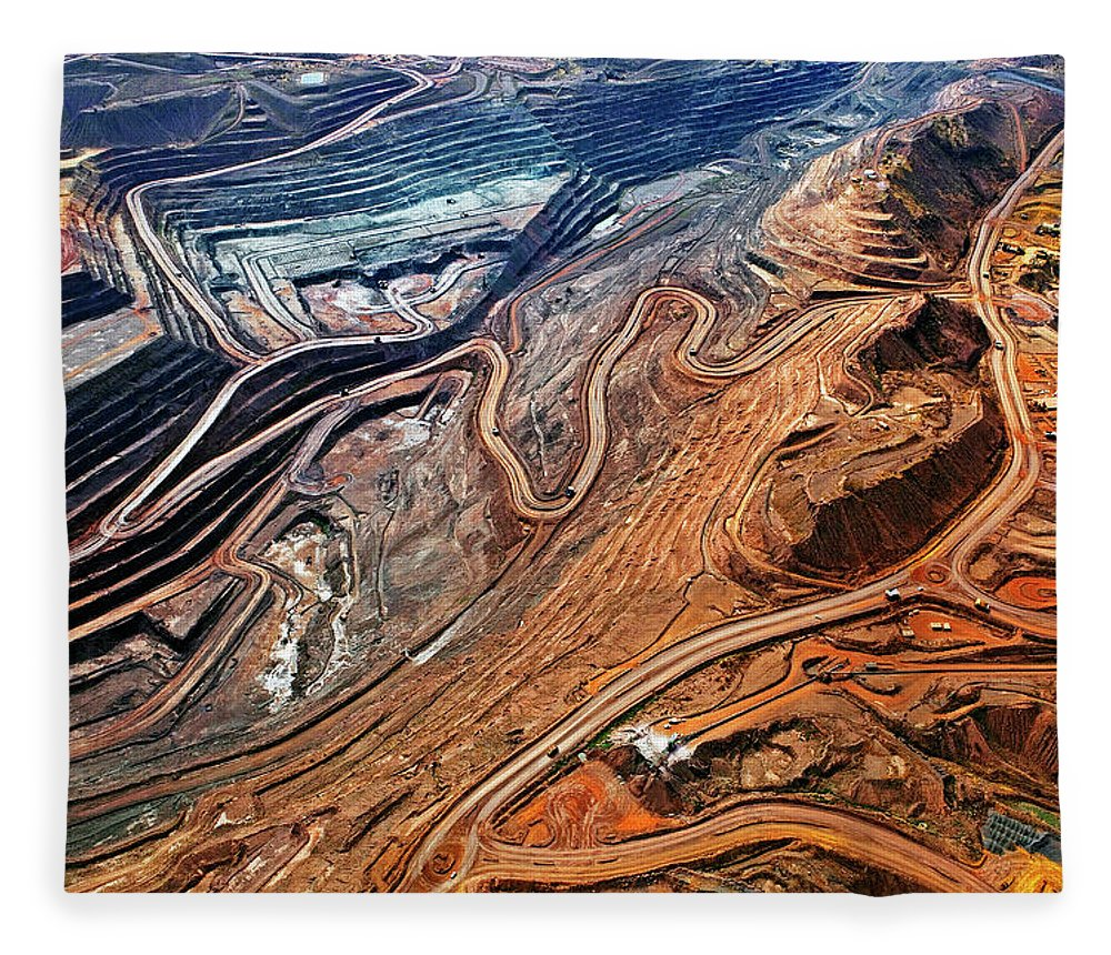 Mineral Fleece Blanket featuring the photograph Iron Ore Mine, Mount Whaleback by John W Banagan