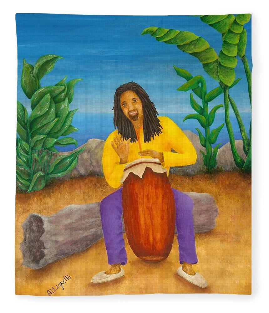 Pamela Allegretto Fleece Blanket featuring the painting Island Beat by Pamela Allegretto