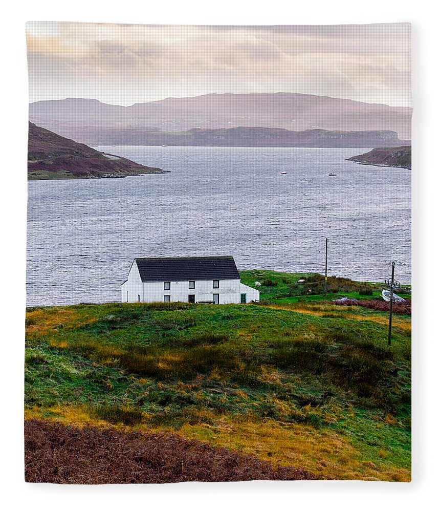 House Fleece Blanket featuring the photograph Isle Of Skye Cottage by Mark Llewellyn