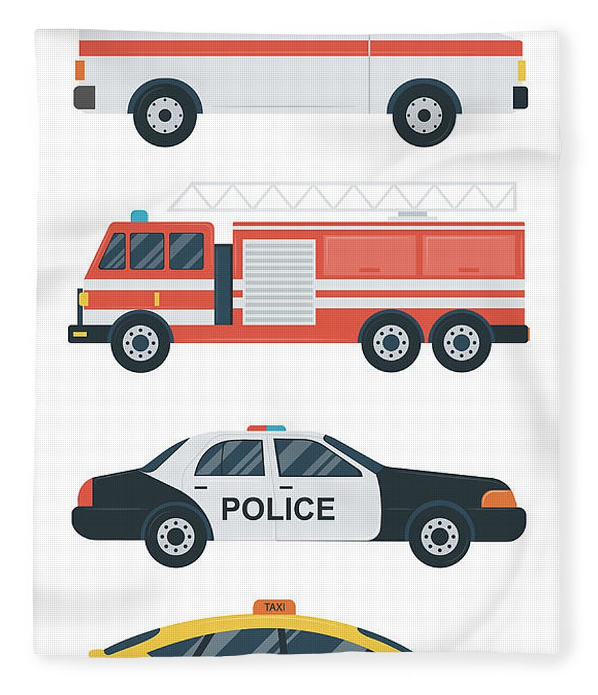 Ambulance Fleece Blanket featuring the digital art Isolated Transport Icons. Police Car by Switchpipipi
