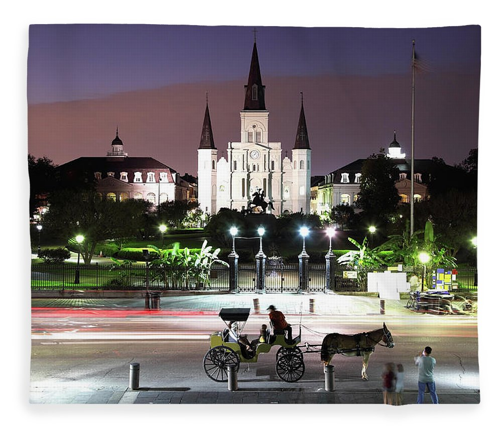 Southern Usa Fleece Blanket featuring the photograph Jackson Square by Denistangneyjr