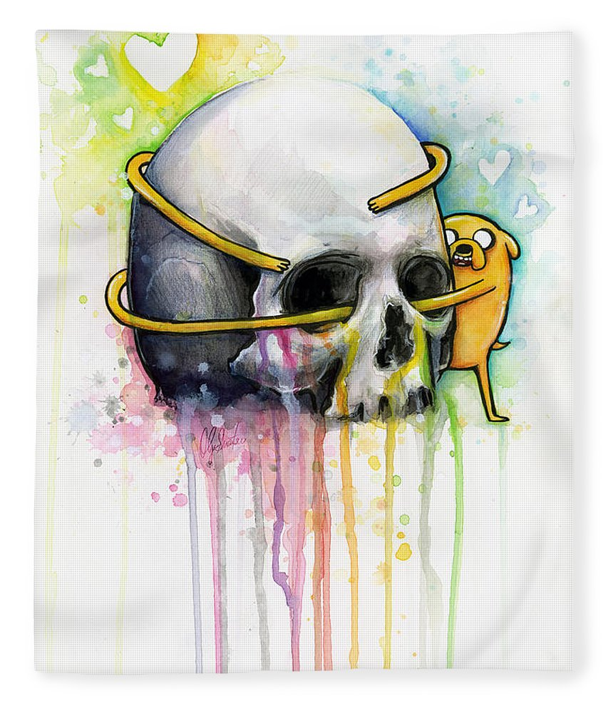 Adventure Time Fleece Blanket featuring the painting Jake The Dog Hugging Skull Adventure Time Art by Olga Shvartsur