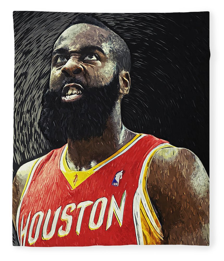 James Harden Fleece Blanket featuring the digital art James Harden by Zapista OU