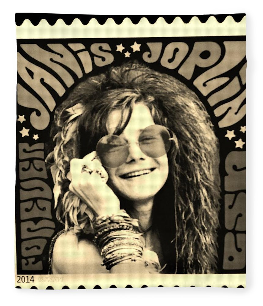 Janis Fleece Blanket featuring the photograph Janis Stamp In A Sepia Vibe by Rob Hans