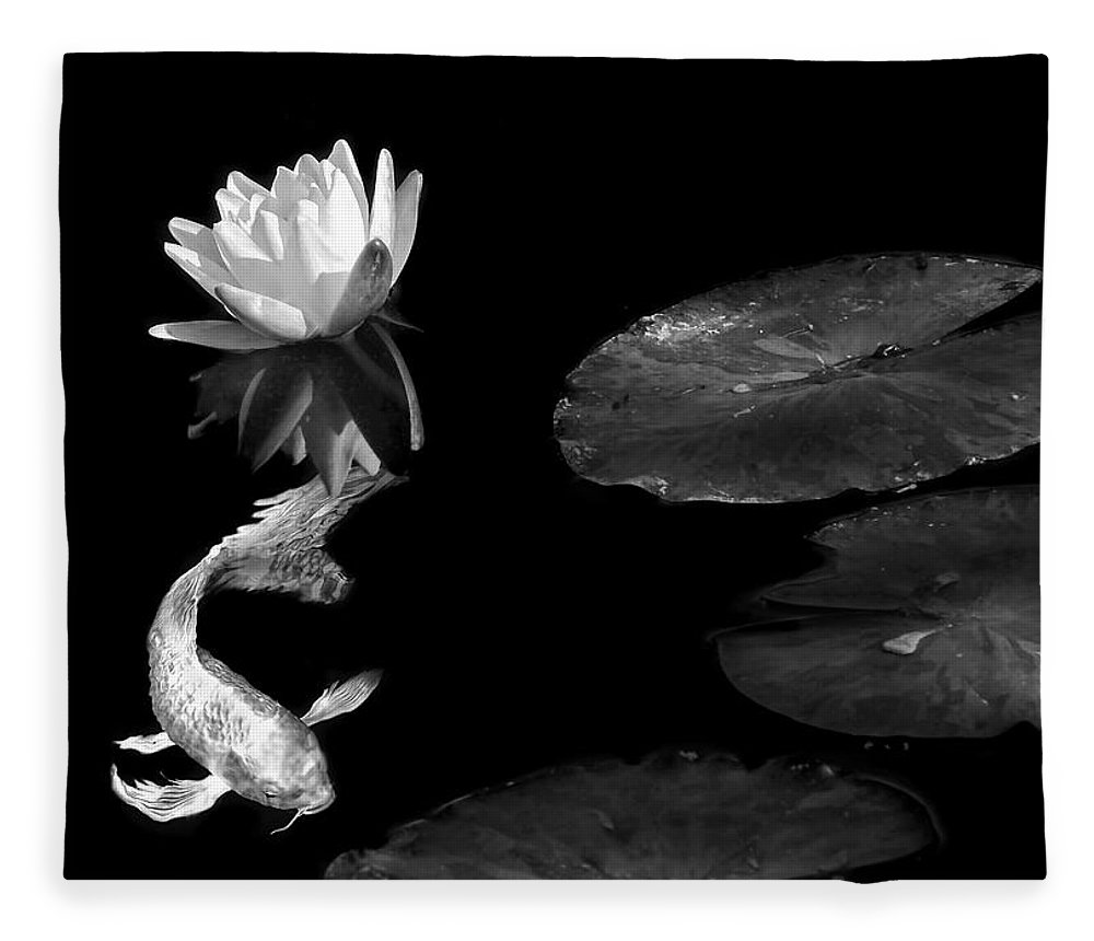 Japanese Koi Fish And Water Lily Flower Black And White Fleece