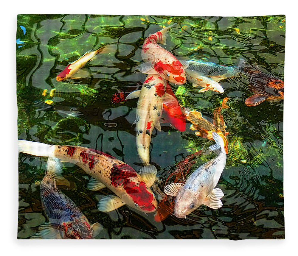 Koi Fleece Blanket featuring the photograph Japanese Koi Fish Pond by Jennie Marie Schell