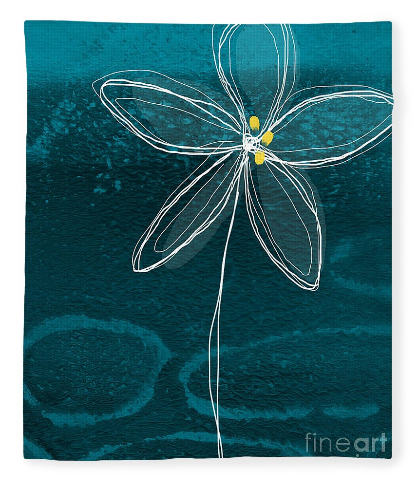 Abstract Fleece Blanket featuring the painting Jasmine Flower by Linda Woods