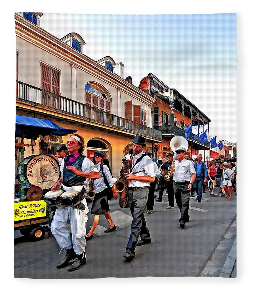 French Quarter Fleece Blanket featuring the photograph Jazz Funeral by Steve Harrington