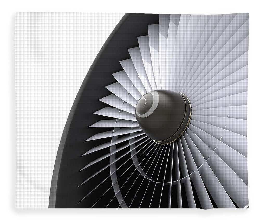 Engine Fleece Blanket featuring the photograph Jet Turbine by Klenger