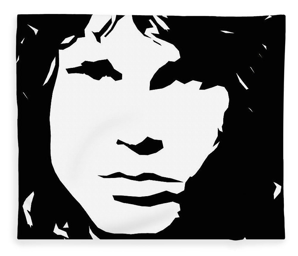 Jim fleece blanket featuring the digital art jim morrison black and white pop art by david