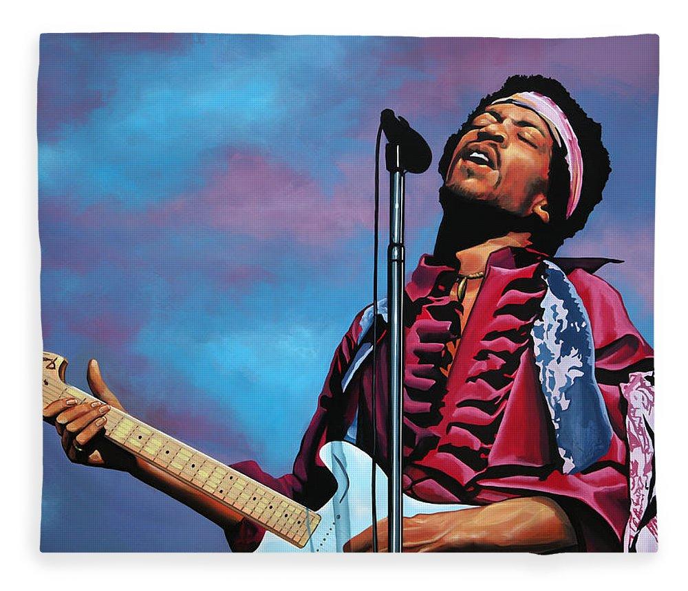 Jimi Hendrix Fleece Blanket featuring the painting Jimi Hendrix 2 by Paul Meijering