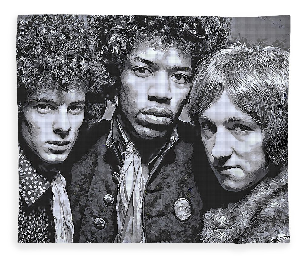 Hendrix Fleece Blanket featuring the digital art Jimi Hendrix Experience 1967 by Daniel Hagerman