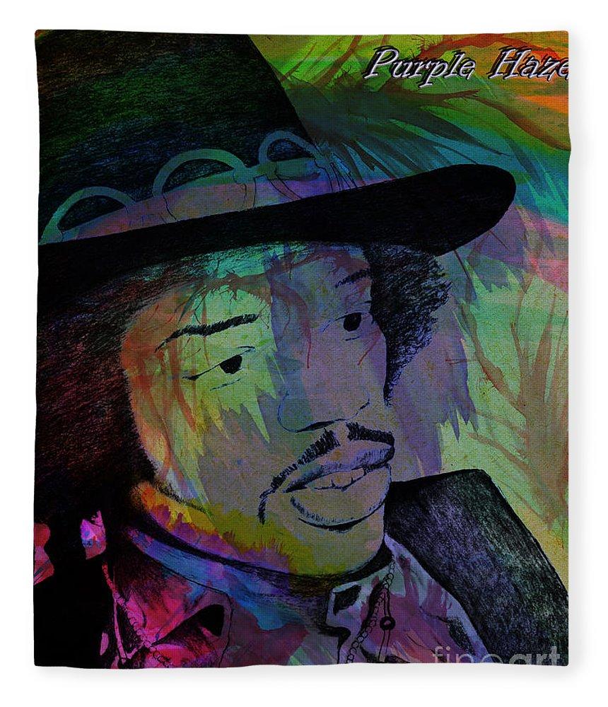 Street Fleece Blanket featuring the photograph Jimi Hendrix Purple Haze by Gary Keesler