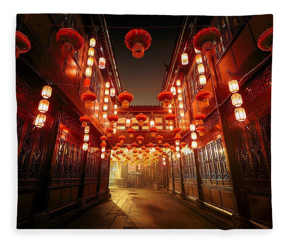 Chinese Culture Fleece Blanket featuring the photograph Jinli Street, Chengdu, Sichuan, China by Kiszon Pascal