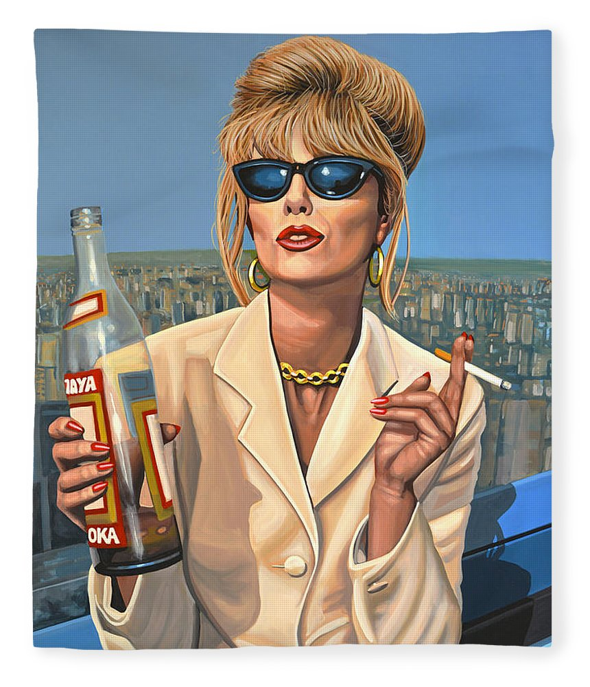 Joanna Lumley Fleece Blanket featuring the painting Joanna Lumley as Patsy Stone by Paul Meijering