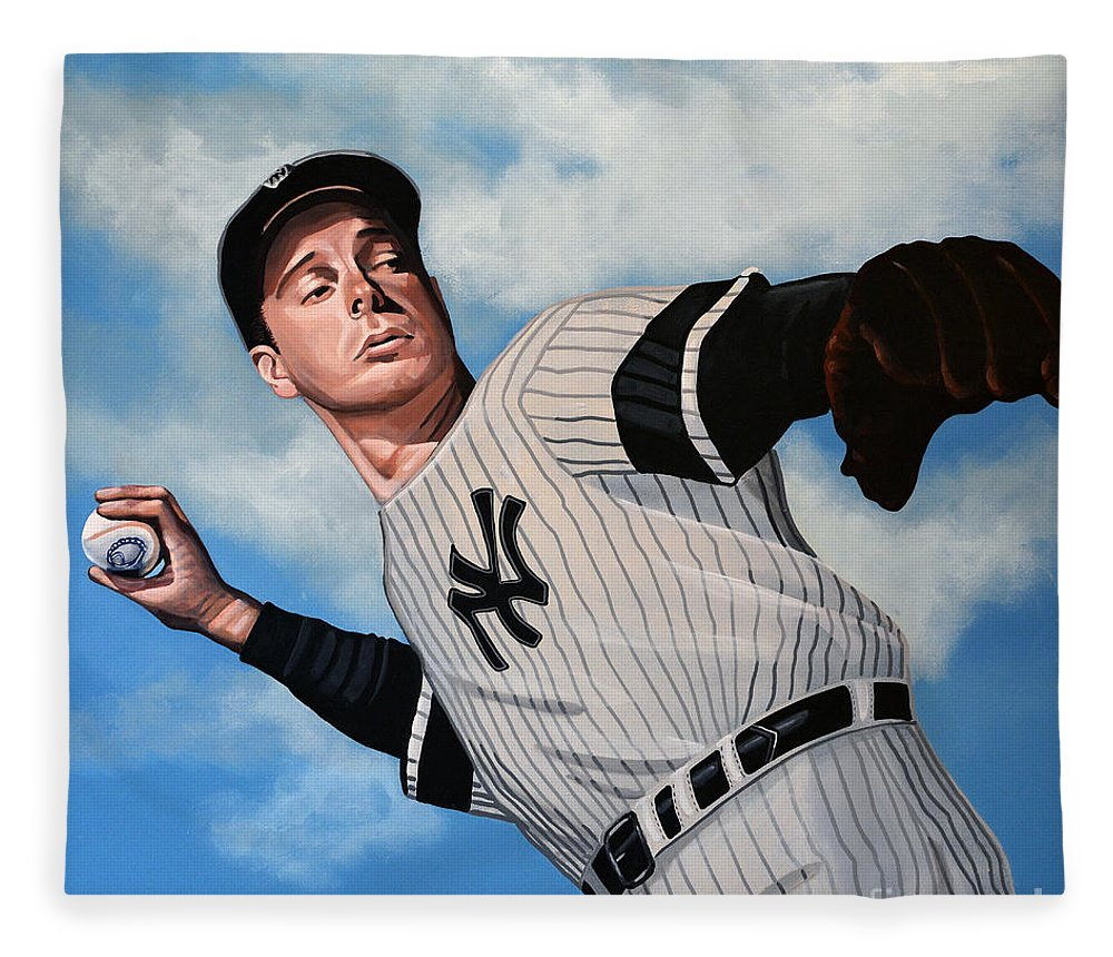 Joe Dimaggio Fleece Blanket featuring the painting Joe Dimaggio by Paul Meijering