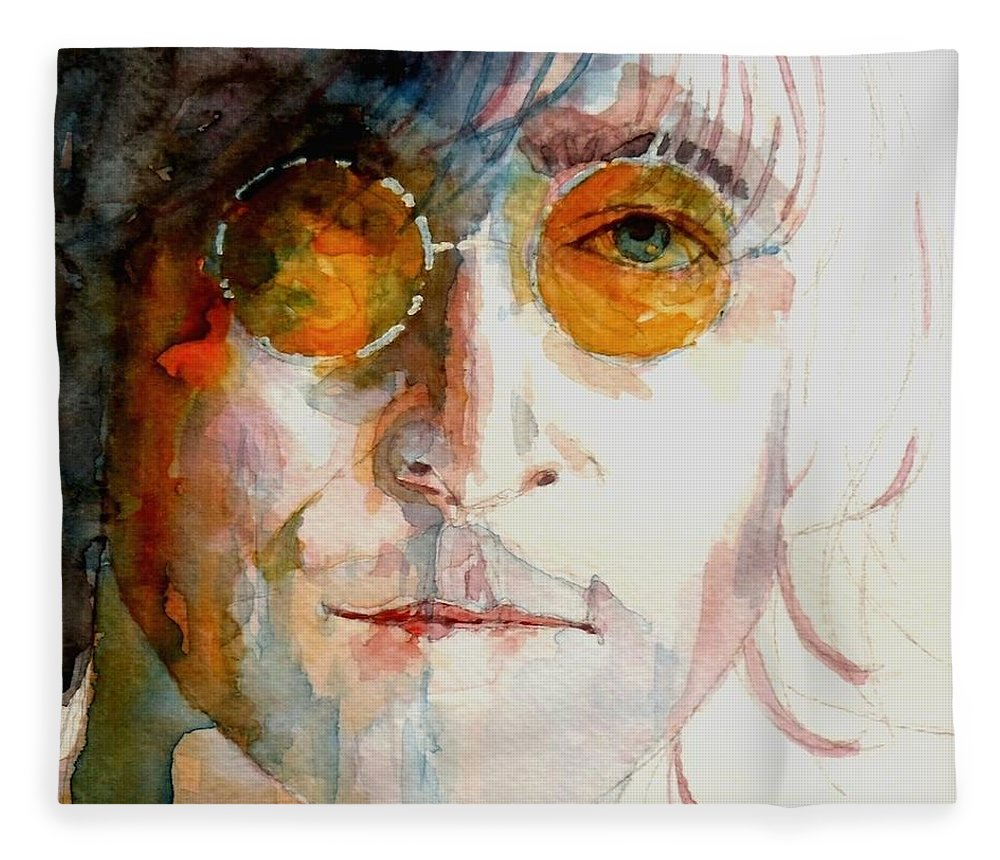 John Lennon Fleece Blanket featuring the painting John Winston Lennon by Paul Lovering