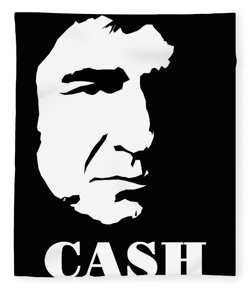 Johnny Fleece Blanket Featuring The Digital Art Cash Black And White Pop By David