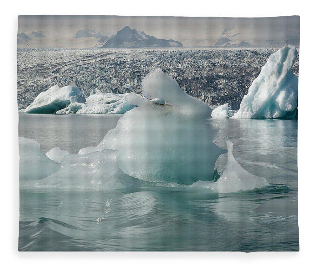 Tranquility Fleece Blanket featuring the photograph Jokularsson Glacier Lagoon by Jamie Gordon