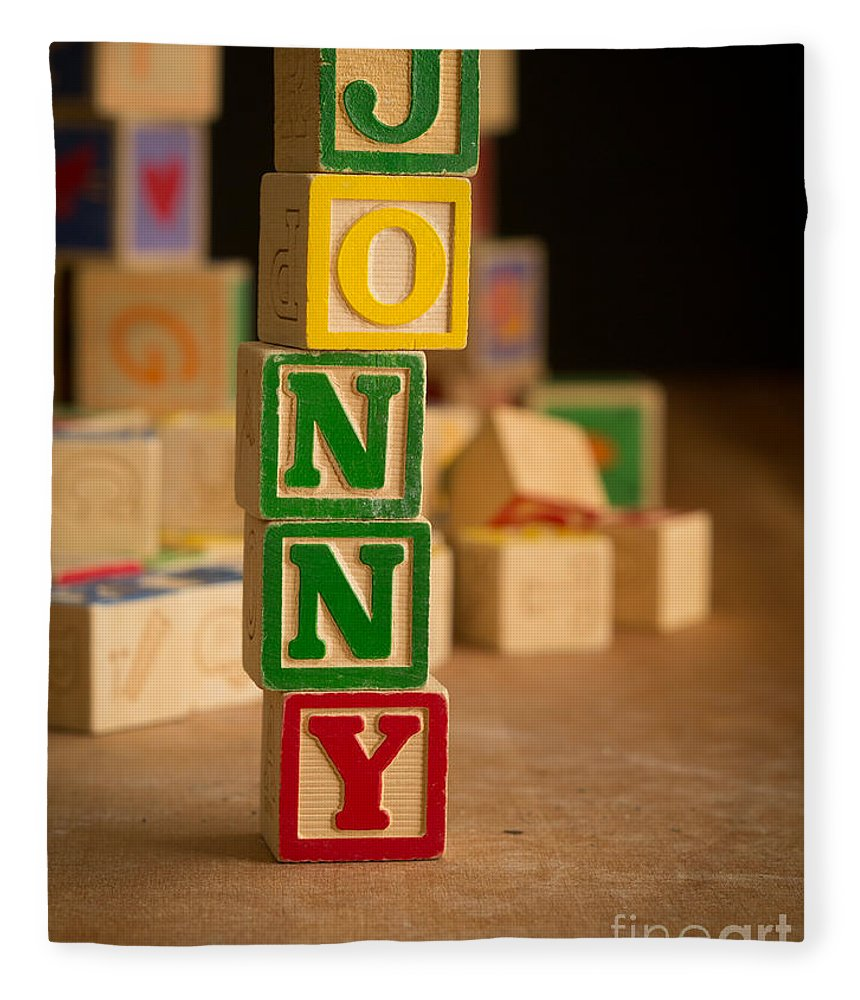 Alphabet Fleece Blanket featuring the photograph Jonny - Alphabet Blocks by Edward Fielding