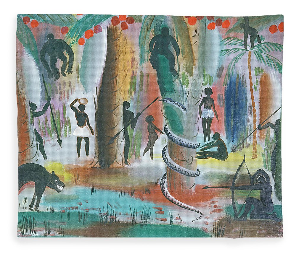Animal Fleece Blanket featuring the photograph Jungle, 1979 Oil On Canvas by Radi Nedelchev