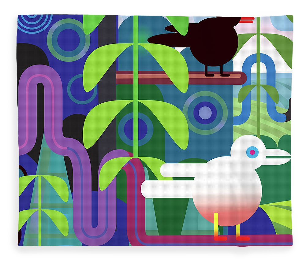 Pets Fleece Blanket featuring the digital art Jungle Vector Illustration With Birds by Charles Harker