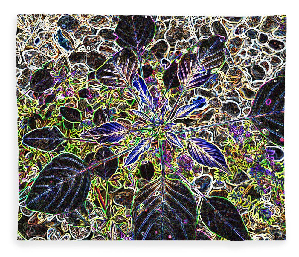 Weed Fleece Blanket featuring the digital art Just A Weed by Lovina Wright