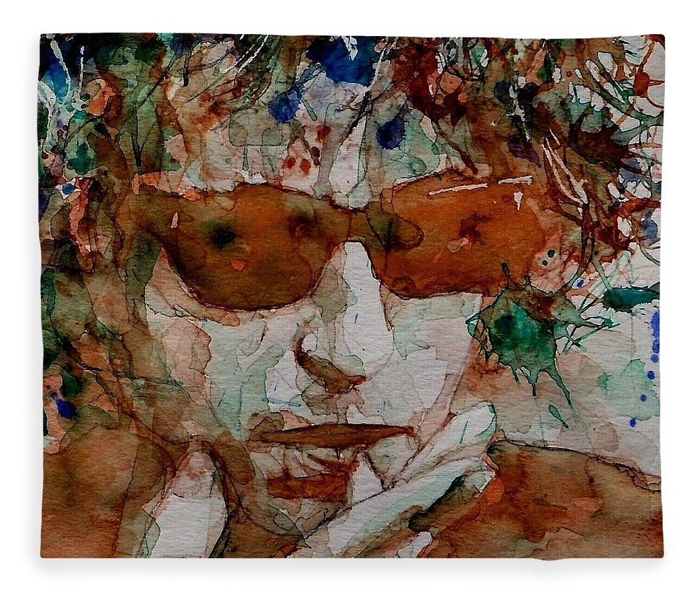 Bob Dylan Fleece Blanket featuring the painting Just Like A Woman by Paul Lovering