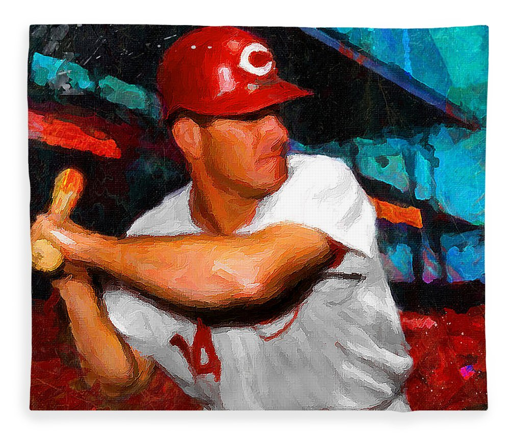 Pete Rose Fleece Blanket featuring the painting Just Pete Rose by John Farr