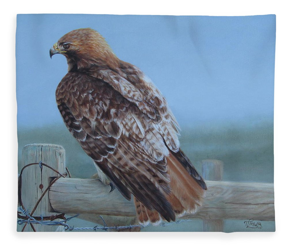 Landscape Fleece Blanket featuring the painting Kaiser's Hawk by Tammy Taylor