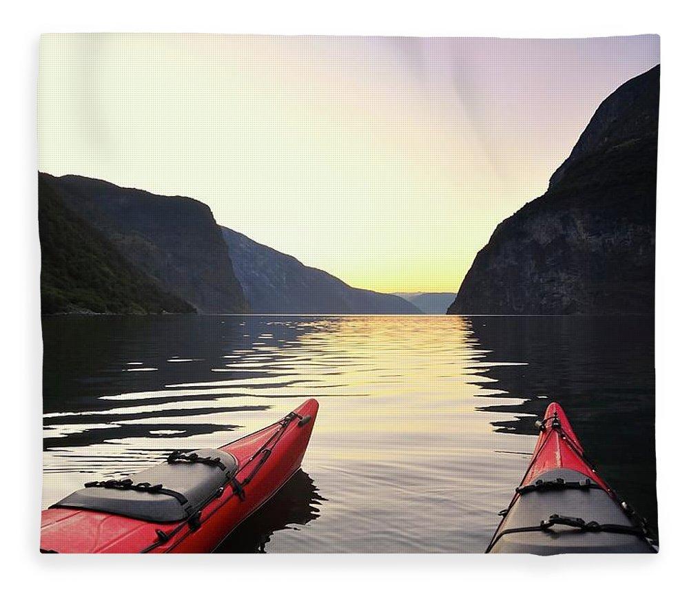 Scenics Fleece Blanket featuring the photograph Kayak In Norway by Sjo