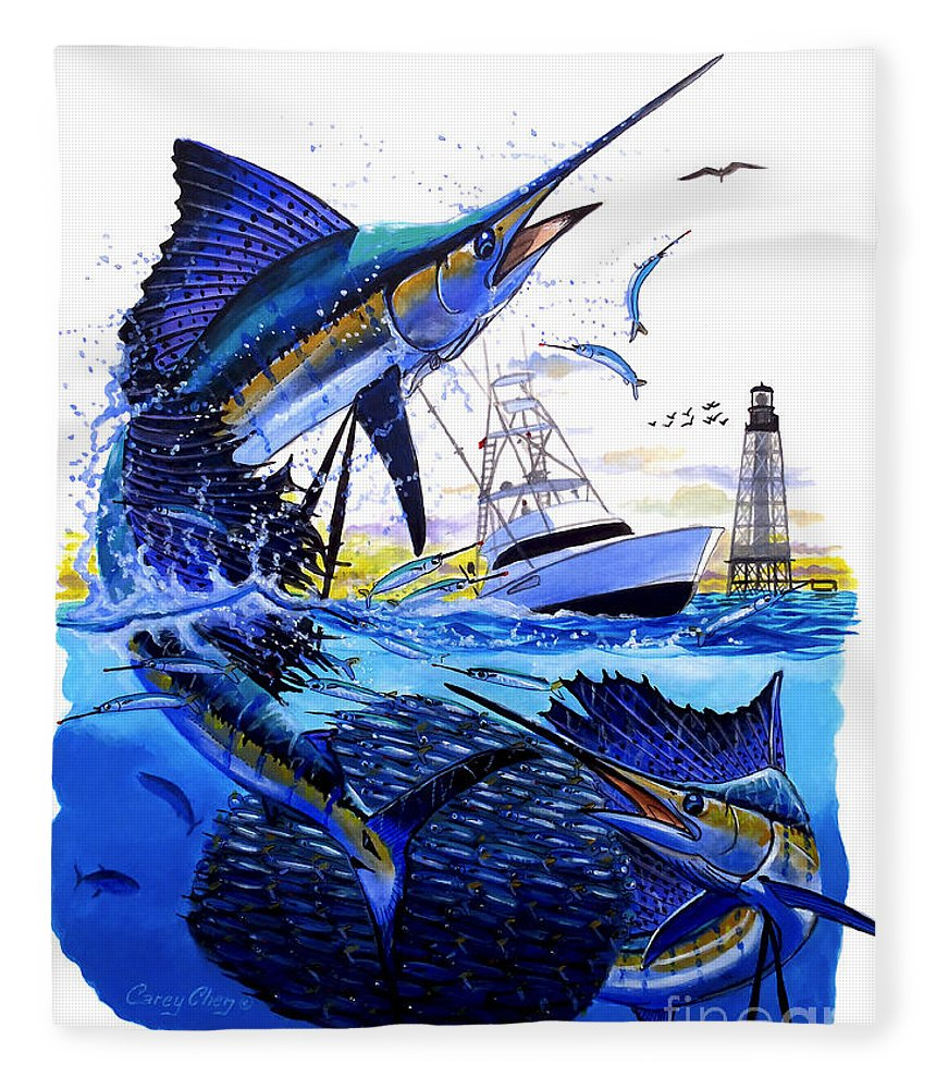 Sailfish Fleece Blanket featuring the painting Keys Sail by Carey Chen