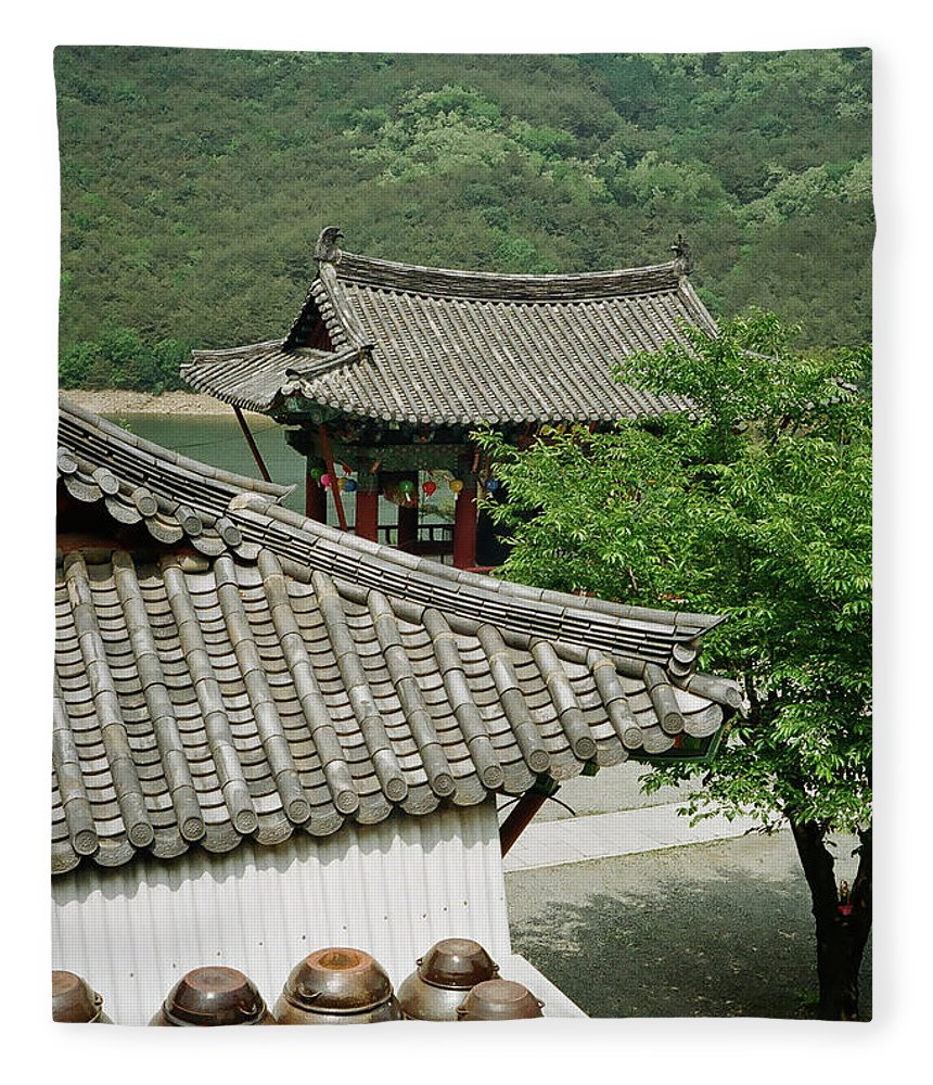 Tranquility Fleece Blanket featuring the photograph Kimchi Pots, Tiles And Lanterns by Mimyofoto - Serge Lebrun