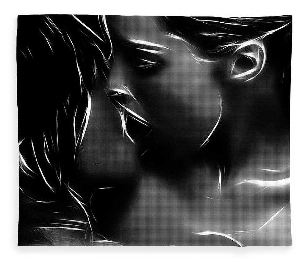 Girl Woman Female Kiss Kissing Lesbian Sexy Beauty Nude Naked Erotic Black White Expressionism Abstract Sensual Fleece Blanket featuring the painting Kissing A Girl by Steve K